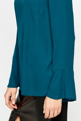 Dark Green Slit Back Blouse