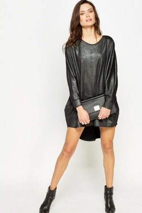 Metallic Drop Back Dress