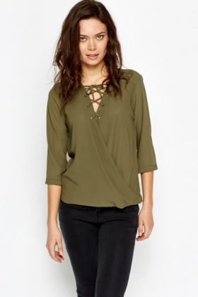 Olive Drawstring Front Wrap Blouse