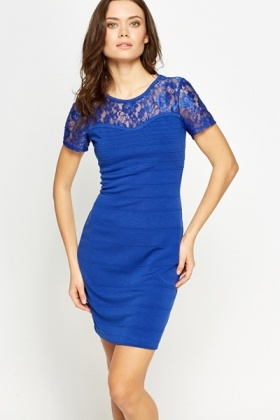 Ribbed Lace Yoke Bodycon Dress