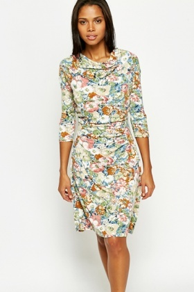 Ruched Multi Coloured Floral Dress