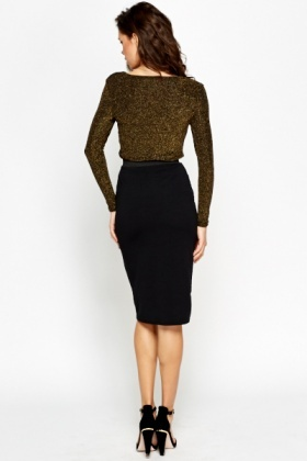 Textured Black Bodycon Skirt - Just £5