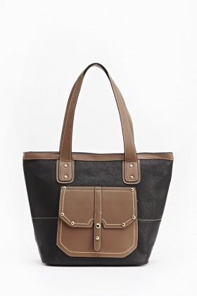 Brown Pocket Contrast Bag