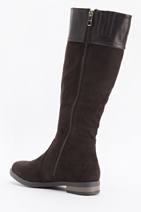 Dark Brown Contrast Boots