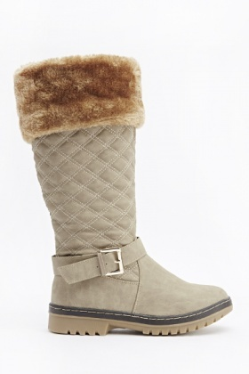 Faux Fur Trim Quilted Boots