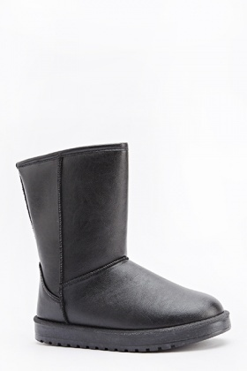 Faux Leather Flat Boots