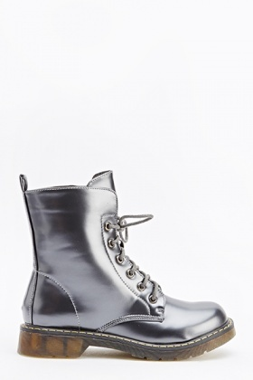 Metallic Lace Up Boots