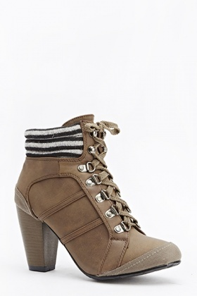 Quilted Trim Heeled Boots