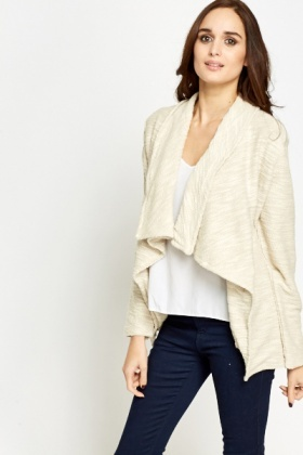 Beige Cotton Waterfall Cardigan