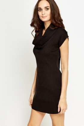 Black Cowl Neck Jumper Dress