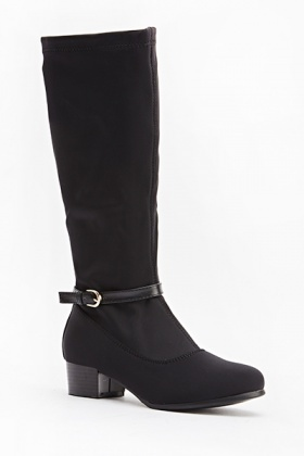 Buckle High Faux Leather Boots