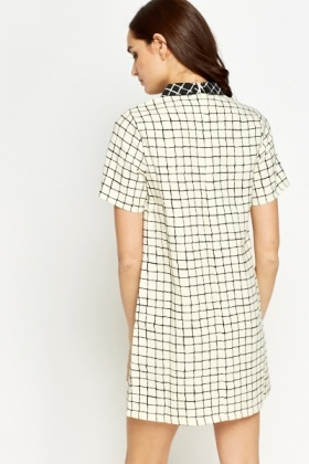 Collared Grid Check Shift Dress