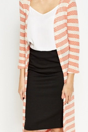 Crochet Striped Long Cardigan