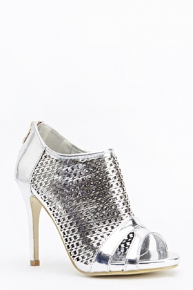 Holographic Cut Out Open Toe Sandal Heels