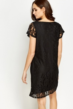 Lace Overlay Shift Dress