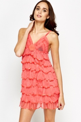 Layered Frill Chemise And Thong Set