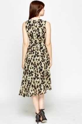 Leopard Print Asymmetric Swing Dress