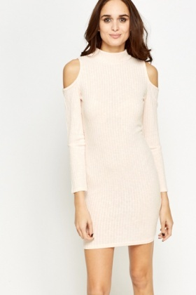 Light Peach Ribbed Cold Shoulders Dress