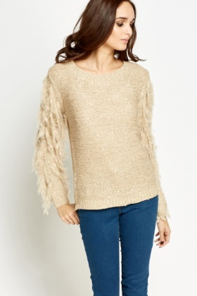 Sequin Knitted Contrast Sleeve Jumper