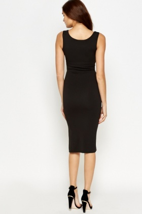 Slit Zip Front Bodycon Dress