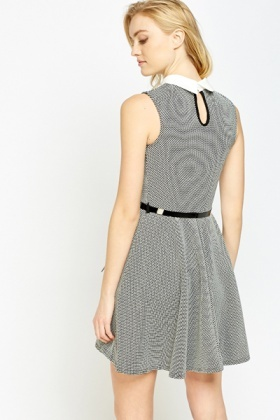 Collared Printed Skater Dress
