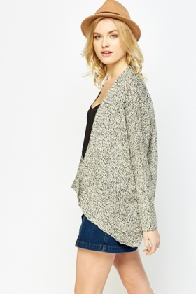 Cream Black Speckled Open Cardigan