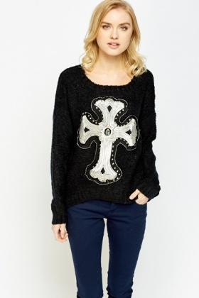 Embellished Large Cross Front Jumper
