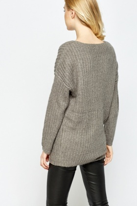 Grey Knitted Oversize Jumper