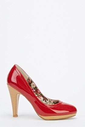 Hi-Shine Wood Effect Heels