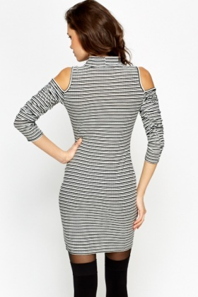 High Neck Cold Shoulder Striped Dress