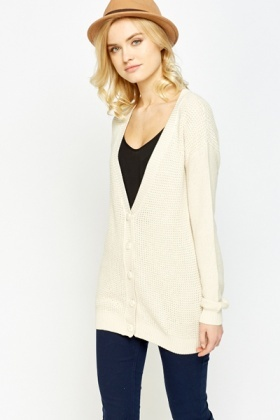 Loose Knit Low Neck Cardigan