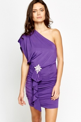 One Shoulder Encrusted Brooch Dress