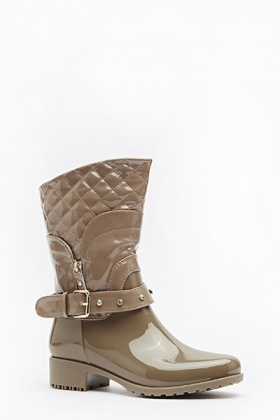 PU Quilted Studded Boots
