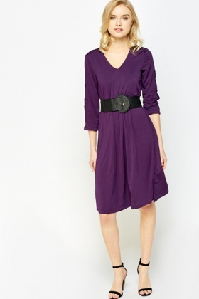 Purple Belted Midi Dress
