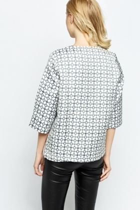 Round Neck Printed Open Blazer