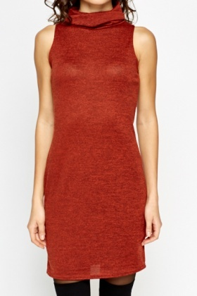 Turtle Neck Sleeveless Dress