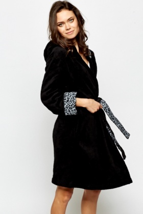 Black Leopard Print Trim Dressing Gown