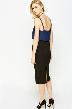 Charcoal Textured Pencil Skirt