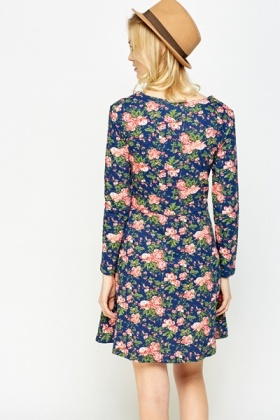 Floral Sweetheart Neck Swing Dress