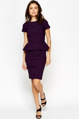Lined Long Peplum Dress