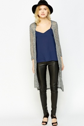 Loose Knit Contrast Long Cardigan