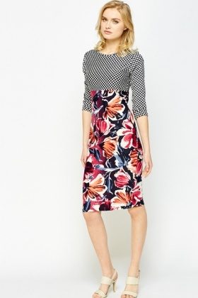 Pattern Block Contrast Midi Dress