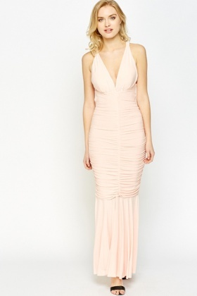 Plunge Ruched Fishtail Dress