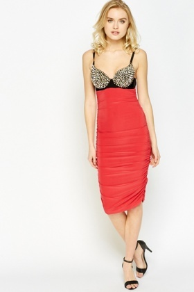 Spiked Bust Ruched Dress
