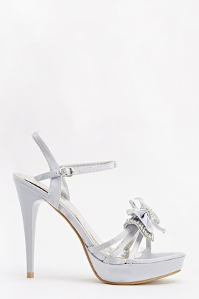 Encrusted Bow Heeled Sandals