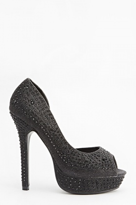 Encrusted Lurex Heeled Sandals