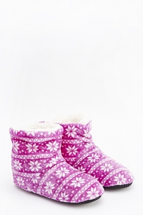 Fair Isle Fleeced Slippers