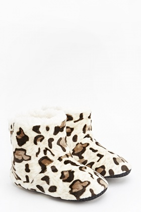 Fleece Animal Print Slippers