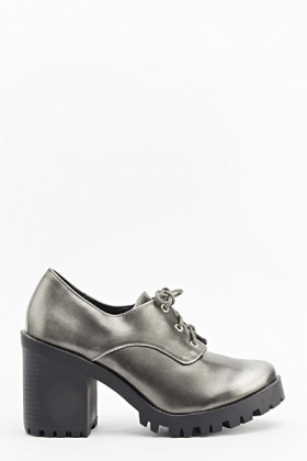 Metallic Grey Chunky Heels