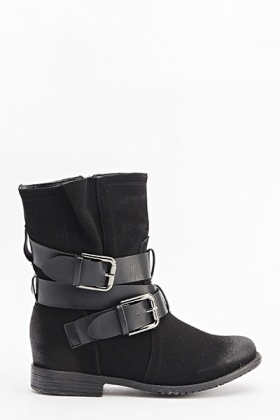 Suedette Buckle Strap Boots